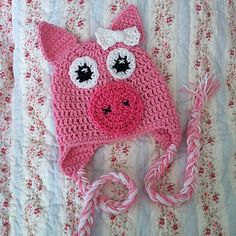 Inspiation  Ravelry: PDF Pattern for Crochet Pig Beanie with Bow. Newborn - Adult Sizes pattern by Knick Knack Krafty Shack