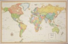 Antique-style world map to be signed by wedding guests