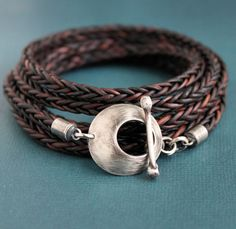 Leather Silver Toggle Wrap Bracelet Square Braid by LynnToddDesigns