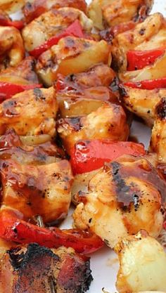 BBQ Bacon Chicken Kabobs Recipe ~ These smoky yet sweet BBQ Bacon Chicken Kabobs require very little preparation and are easy to clean up.
