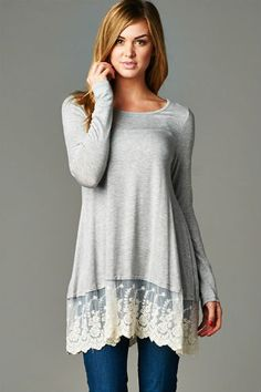 Lace Trim Tunic $35 http://wildlarkboutique.com/product/lace-trim-tunic/