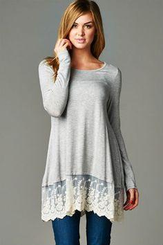 Lace Trim Tunic $35 http://wildlarkboutique.com/product/lace-trim-tunic/
