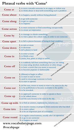 Forum   ________ English Grammar   Fluent LandPhrasal Verbs with COME   Fluent Land