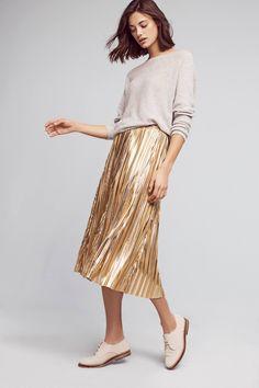 Metallic Midi Skirt, sweater + oxfords