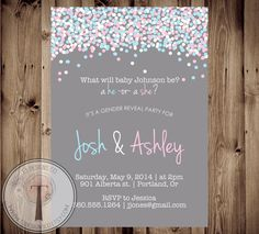 Confetti Gender Reveal Party Invitation, Gender Reveal Invite, gender reveal, baby reveal on Etsy, $12.99