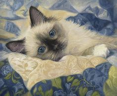 Domestic Cats Paintings - Charming  by Lucie Bilodeau