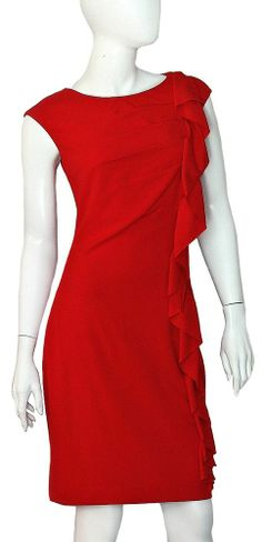Calvin Klein Dress NWT SZ 6 Red Side Ruffle Sleeveless Fully Lined