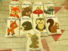 Muslin Bags Forest Woodland Animals Favor Baby by CharleysCache