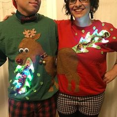 Ugly Christmas sweater, couple sweater, vommiting reindeer with lights - ladies and mens PM for Rush orders Now also in navy or black Ugly Christmas Tree, Mens Ugly Christmas Sweater, Funny Christmas Sweaters, Christmas Ideas, Ugly Sweater Couple, Ugly Sweater Party, Christmas Costumes, Girls Sweaters, Pulls