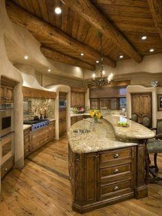 luxury kitchen in log home