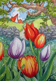 """Daily Paintworks - """"May Day Tulips Storybook Cottage Series"""" - Original Fine Art for Sale - © Alida Akers"""