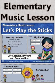 LOVE this elementary music lesson plan for adding rhythm sticks, rounds and composition in second, third or fourth grade music. Highly engaging interactive visuals and activities are perfect! Elementary Music Lessons, Kindergarten Lessons, Teaching Music, Music Teachers, General Music Classroom, Music Education Activities, Fourth Grade, Second Grade, Music Lesson Plans
