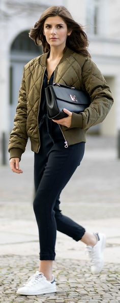 Quilted bombers + Valerie Husemann + army green bomber + black plunge neck jumpsuit Jacket: Noisy May, Jumpsuit: Zara, Shoes: Adidas, Bag: Mint & Berry. Warm Outfits, Fall Winter Outfits, Spring Outfits, Cute Outfits, Casual Outfits, Look Fashion, Daily Fashion, Fashion Outfits, Autumn Fashion