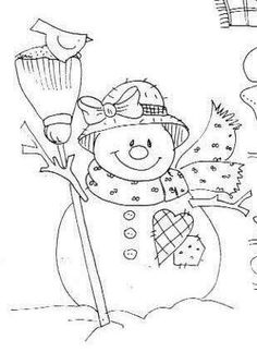 Snowman to paint Hand Embroidery Patterns, Cross Stitch Embroidery, Embroidery Designs, Christmas Colors, Christmas Art, Snowman Quilt, Christmas Coloring Pages, Snowman Coloring Pages