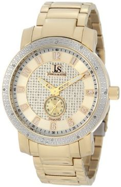 Joshua & Sons Men's JS-20-YG Stainless Steel Diamond Bracelet Watch Joshua & Sons. $139.00. 60 seconds subdial. Twelve genuine diamonds on the bezel. Double layer dial, gold-tone sunray outer, silver pave sparkling glitter inner. Gold-tone stainless steel bracelet. Gold-tone arabic numerals, minute numbers above markers