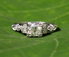ART DECO  PLATINUM Diamond Engagement Ring  by BeautifulPetra, $3000.00