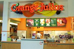 Getting an orange julius at the mall food court