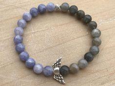 Guardian Angel Bracelet, Angelite Bracelet, Labradorite Bracelet, Angelic Bracelet, Wrist Mala, Spiritual Bracelet, Yoga Bracelet, Bohemian by CrystaliciousDesigns on Etsy