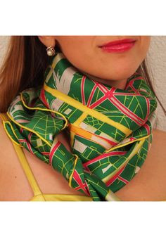 "Designer Silk Scarf - map of Paris ""Green"". Premium quality silk, limited edition, swiss brand"