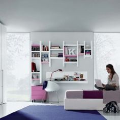 Exquisite Teenager's Rooms Design Ideas - Image 04 : Pink Violet White Modern Teenagers Room