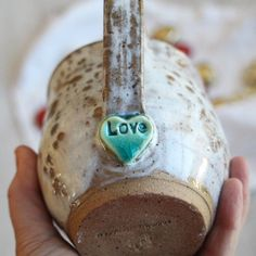 Image of Love Mug, Rustic Pottery Mug with Turquoise Heart, Handmade, Made in US… – Ceramic Art, Ceramic Pottery Hand Built Pottery, Slab Pottery, Thrown Pottery, Pottery Mugs, Ceramic Pottery, Pottery Art, Pottery Wheel, Pottery Bowls, Clay Mugs