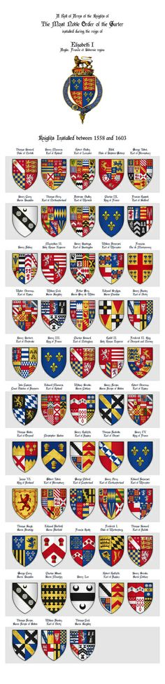 Roll of Arms - Knights of the Garter Installed during the Reign of Queen Elizabeth I Art Print