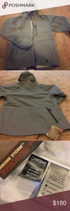 """Chrome Industries shell rain jacket New unworn rain jacket in men's L or women's L-XL. 28.5 inches long from shoulder, 23.8 inch across from armpit to armpit, approx 26 in from shoulder to wrist. 23in measure across at the bottom of jacket. Zipper chest pocket, side pockets and a back hip pocket as pictured. Model is 6'1"""" slim framed male. Please no lowballing! No trades. Tags still attached. Needing money. Chrome Industries Jackets & Coats"""