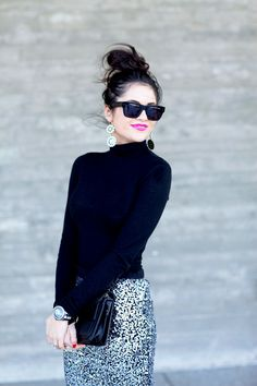 sequinned pencil skirt + sweater