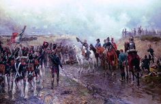 """""""Napoleons last grand attack: Napoleon is seen with his generals as his faithfull Guard regiments (held in reserve) pass him on their way to the last French attack on the British lines during the last stages of the Battle of Waterloo"""""""