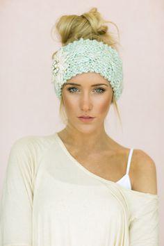 Mint Cable Knitted Headband Jeweled Ear Warmer by ThreeBirdNest, $38.00