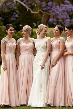 fd09c85076db Pink A Line Floor Length Curve Neck Capped Sleeve Appliques Scoop Cheap Bridesmaid  Dress B255. Modest Bridesmaid DressesBridesmaid ...