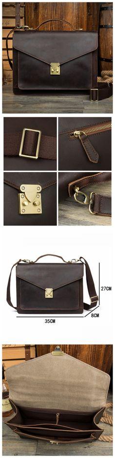 Leather Laptop Bag, Leather Messenger Bag, Mens Business Bag MS146