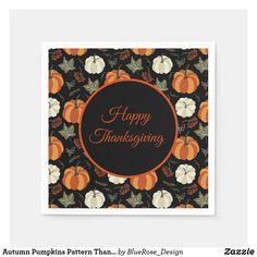 Autumn Pumpkins Pattern Thanksgiving Napkins Cloth Napkins, Paper Napkins, Thanksgiving Decorations, Happy Thanksgiving, Ecru Color, Cocktail Napkins, Fall Pumpkins, Colorful Backgrounds, Birthdays