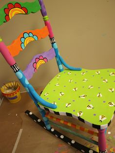I have some old wooden farm chairs...wouldn't this be cute??