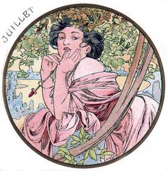 Postcard design for the month of July by Alphonse Mucha.