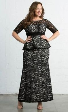 9d3b2d02defe Check out the deal on Astoria Lace Peplum Gown at Kiyonna Clothing Plus Size  Gowns