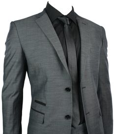Mens Fitted Suit Charcoal Grey Black Trim Blazer & Trouser Smart Office Wedding Party - Tru Clothing - Bridal Party