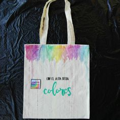 Watercolor rainbow, hand-painted  cotton tote canvas shopper bag, Spanish, My soul is made of colors. de InspiringLi en Etsy