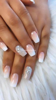 Elegant Nails, Classy Nails, Simple Nails, Elegant Bridal Nails, Bridal Nail Art, Cute Acrylic Nail Designs, Best Acrylic Nails, French Manicure Nail Designs, Chic Nails