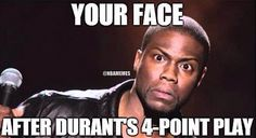 REACTION to Kevin Durant's 4-Point Play! #KevinHart - http://nbafunnymeme.com/uncategorized/reaction-to-kevin-durants-4-point-play-kevinhart