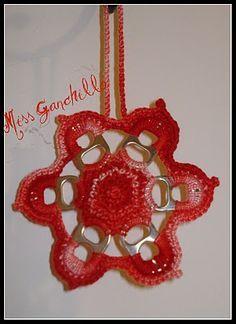 Crochet - Estrella con anillas de lata recicladas