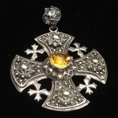 Jerusalem Cross Pendant Silver Yellow Stone Ornate Heavy Granulation