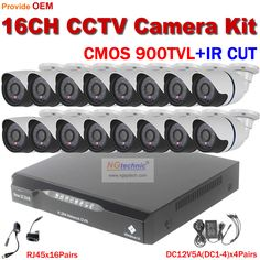 16CH video camera recorder DVR with 16pcs outdoor waterproof IR day night vision Surveillance camera 16CH Security sytem DVR Kit