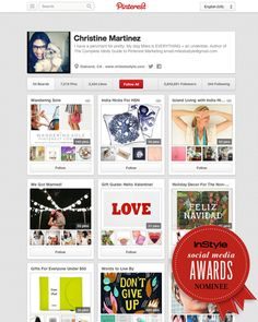 """I've been nominated by InStyle Mag! If you love my """"pinspiration"""" please vote. :D thanks! xo -christine + miles"""