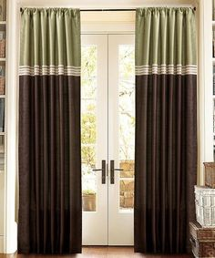 Another great find on #zulily! Green & Chocolate Marissa Curtain Panel - Set of Two #zulilyfinds