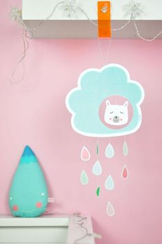 Cute Paper Cloud Raindrop Mobile with Free Printable Template.
