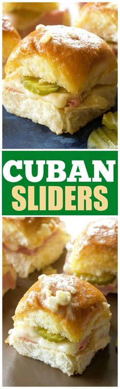 Cuban Sliders – ham, Swiss, pickles, and a mustard glaze makes these Cuban sliders a great appetizer for any party. Made with Hawaiian rolls! Cuban Sliders I know what you're thinking, Cuban Sliders. Fun Easy Recipes, Easy Appetizer Recipes, Great Appetizers, Popular Recipes, Easy Meals, Christmas Appetizers, Delicious Recipes, Dinner Recipes, Appetizer Sandwiches