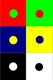 Complementair kleurcontrast. Kleuren die in de kleurencirkel tegenover elkaar staan