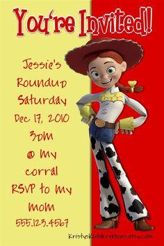 Jessie from Toy Story Birthday Invitation OR Thank you card- DIGITAL. $10.00, via Etsy.