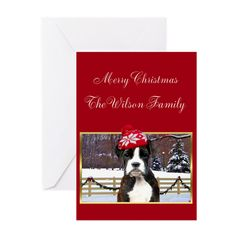 """Christmas Boxer Dog Greeting Cards, Choose from three size options: Note Card (4"""" x 5.6""""), Greeting Card (5"""" x 7""""), or X-Large Greeting Card (7.8"""" x 11"""")  #card #cards #boxer #boxers #navidad #postcards #greeting #holiday #dog #dogs #pet #pets"""
